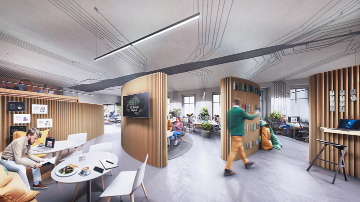 Interiér moderních kanceláří pro startup