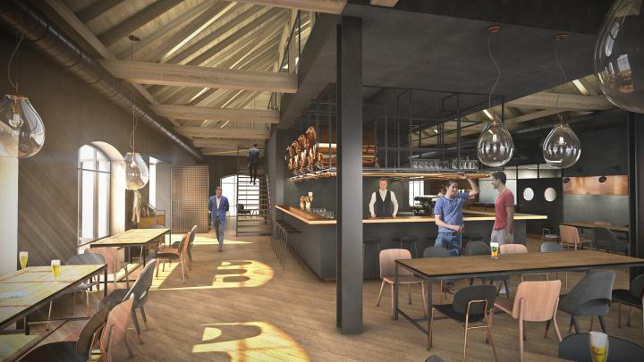 Interiér pivovarské reštaurácie