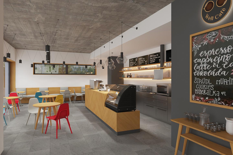 Interiér moderní kavárny