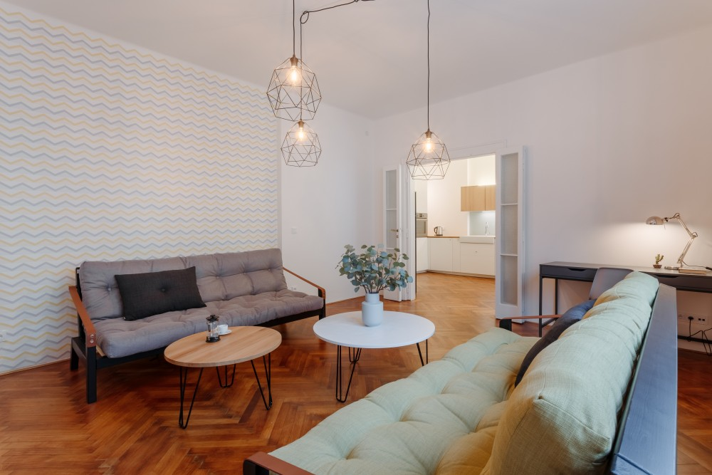 Interiér bytu na pronájem - retrointeriér