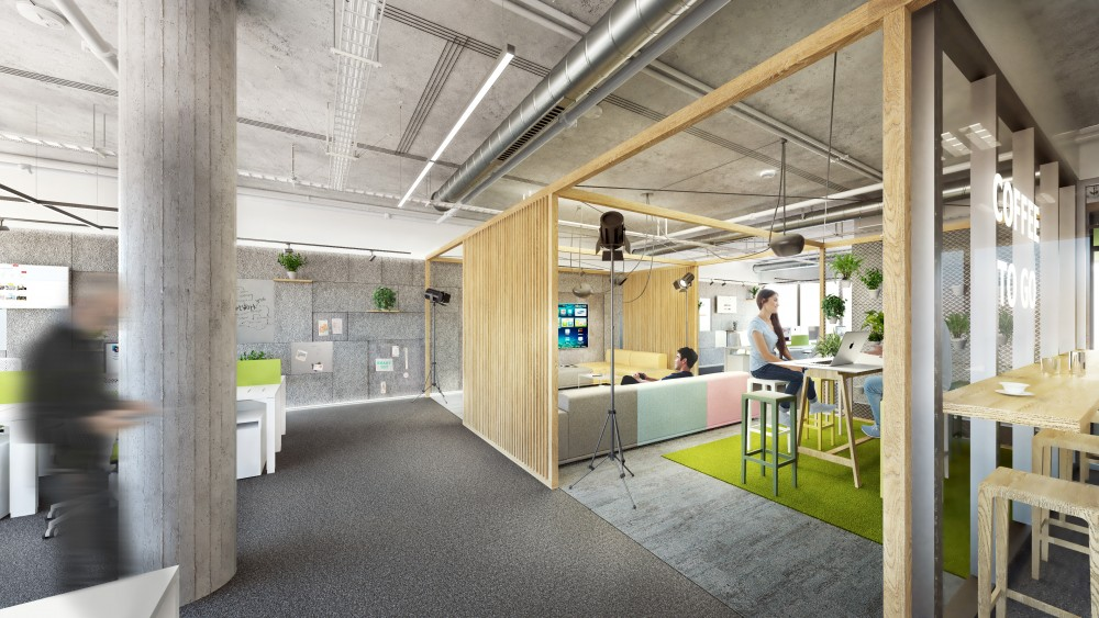 Interiér kancelárií a relaxačné zóny pre stredne veľkú IT firmu