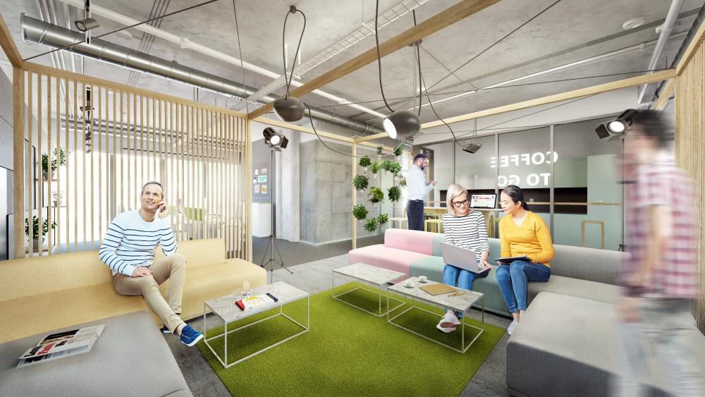 Interiér kanceláří a relaxační zóny pro středně velkou IT firmu