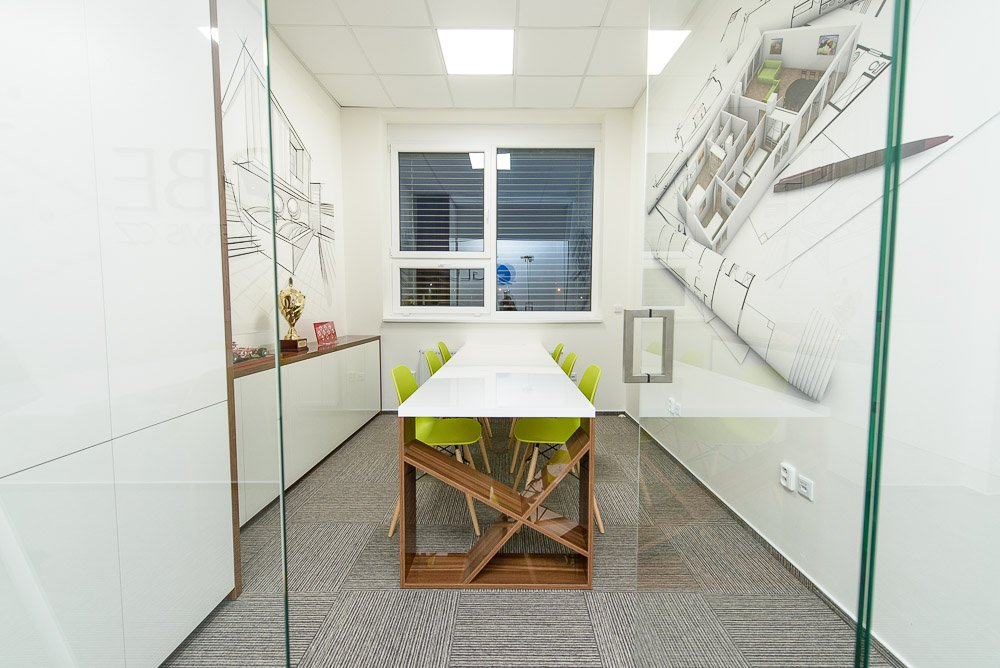 Návrh interiéru kanceláří v Prostějově.
